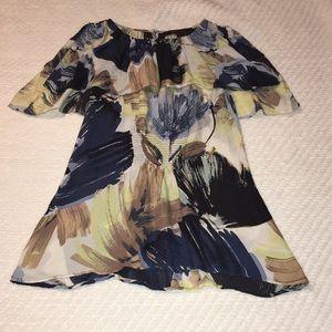 BCBG Silk lightweight floral sleeveless blouse